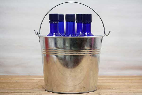 large tin buckets