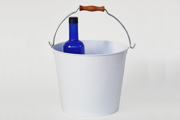 rustic white metal pail with handle