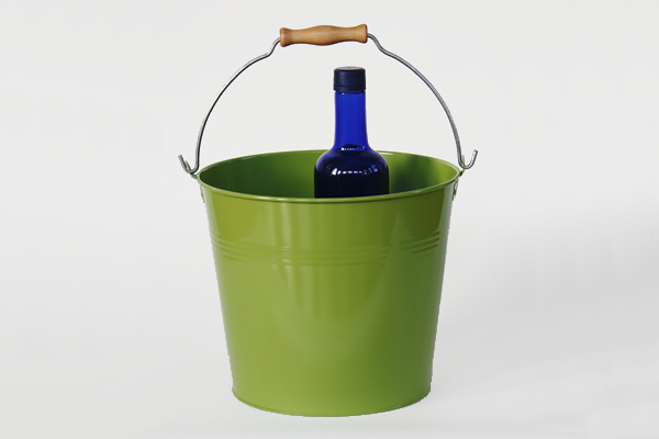 green metal wedding bucket