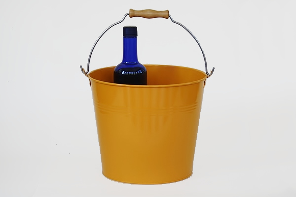yellow metal vintage bucket