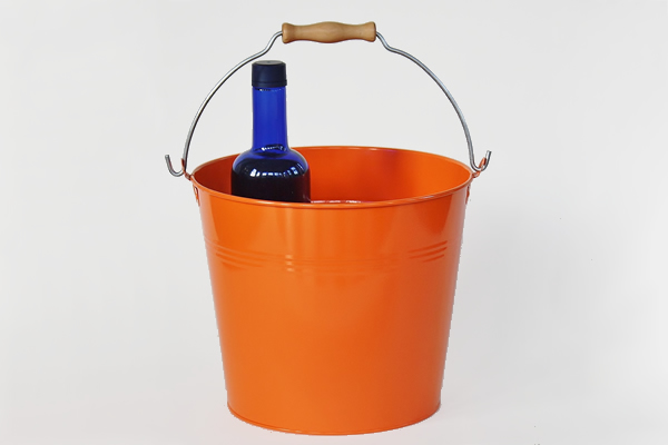 orange metal vintage bucket