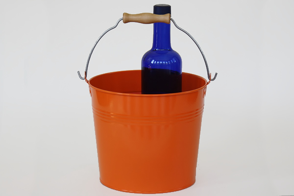 Orange decorative bucket with wood handle