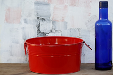 Red Small Metal Tub