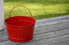 Round Red Metal Tub