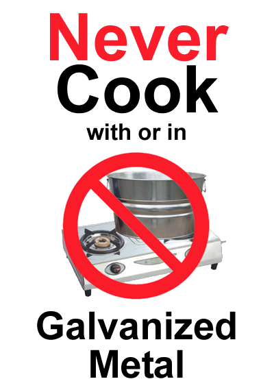 Is it safe to use galvanized metal for cooking