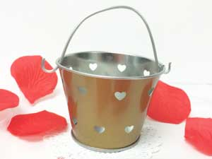 Gold Heart Cut Out Favor Gift Pails