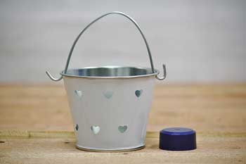 White Heart Cut Out Favor Gift Pails