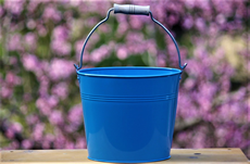 light blue wooden handle pail