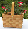 Woodchip Rectangular Small Basket with Folding Handle
