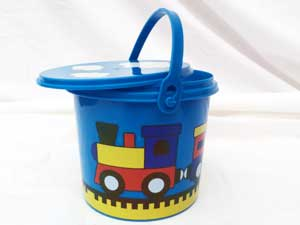 Plastic Train Pail with Lid